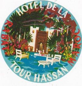 Morocco Rabat Hotel De La Tour Hassan Vintage Luggage Label sk3547