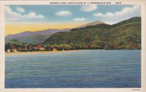 New York Lake Placid Mirror Lake 1950 Curteich
