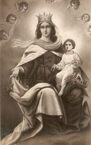 La Virgen del Carmen Old vintage antique Spanish religious postcard