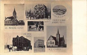 Phillips WI Multi-View Horse & Lumber Wagons Saw Mill Churches RPPC Postcard