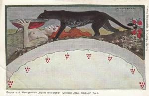 A. KLINGNER: Black panther drinks from bowl held by topless woman , 1909