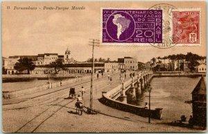 Postally-Used Pernambuco, BRAZIL Postcard Ponte-Parque Macedo 1936 Cancel
