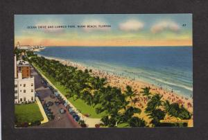 FL View Ocean Drive, Lummus Park, Miami Beach, Florida Postcard Linen PC