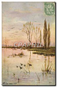 Old Postcard Fantasy Landscape at the edge of & # 39eau