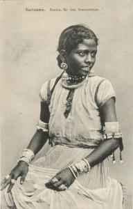 suriname, British Indian Girl, Sookia, Nose Piercing, Jewelry (1899) Postcard
