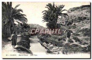 Old Postcard Gabes Tunisia Ras el Oued
