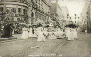 San Francisco CA 1909 Portola Festival Parade Native Daughters Postcard