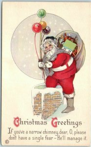 SANTA CLAUS Christmas Postcard If You've a Narrow Chimney, Dear STECHER 745C