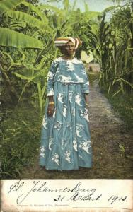 suriname, Native Woman in Traditional Costumes (1899)