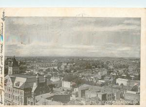 Reading Pennsylvania~Birds Eye View~Business Rooftops~Bridge 1905 Postcard