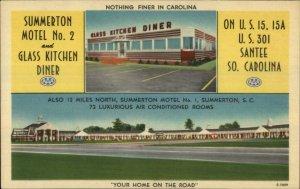 Summerton SC Motel & Glass Kitchen Diner LINEN US 301 Postcard