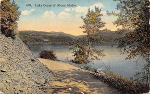 Lake Coeur d Alene Idaho~View of the Lake~Rocky Wall on Path c1910 Postcard