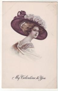 P321 JL old postcard pretty woman valentine to you