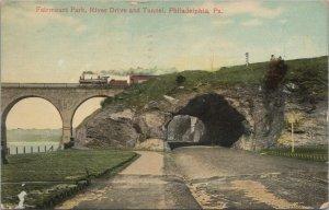 Vintage Postcard - Fairmont Park River Drive & Tunnel, Philadelphia PA