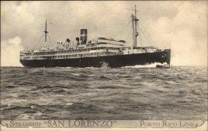 Porto Puerto Rico Line Steamship SAN LORENZO c1920s Postcard