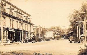 Phillips ME Main Street Storefronts Old Cars First National Store RPPC Postcard