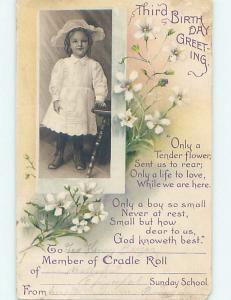 Pre-Linen POSTCARD FOR THIRD BIRTHDAY - CUTE GIRL WITH FLOWERS HL5202