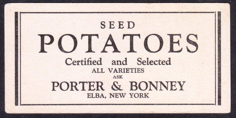Porter & Bonney – Elba NY – Seed Potatoes blotter