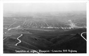 Lewiston Idaho~Lewiston Hill Highway Bird's Eye View @ Night~1950s RPPC Postcard