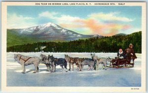 1940s Lake Placid, New York Postcard DOG TEAM on MIRROR LAKE Sled Dogs Linen