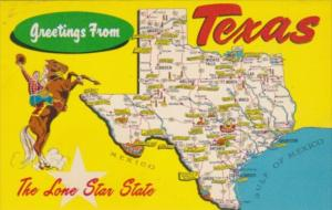 Greetings From Texas The Lone Star State With Map