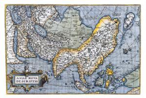 Map Postcard, Asiae Nova Descriptio, Coloured Map of Asia 26S