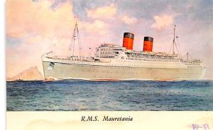 White Star Line Cunard Ship Post Card, Old Vintage Antique Postcard RMS Maure...