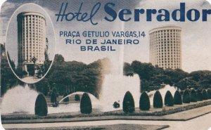 Brasil Rio De Janeiro Hotel Serrador Vintage Luggage Label sk4647