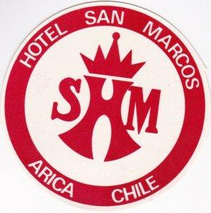 Chile Arica Hotel San Marcos Vintage Luggage Label lbl0148