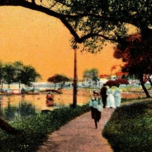 C.1909 Wood Frame Border. Painting. Summer. Walter. Pavillion. Boats. VTG Card