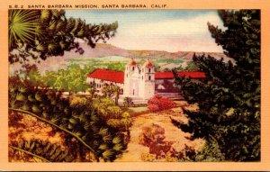California Santa Barbara The Santa Barbara Mission 1955