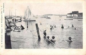 Port Washington Bay New York Bather Scene Antique Postcard K88515