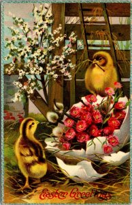 Antique Postcard  Easter Greetings - CHICKS EGGS FLOWERS  BARN - VINTAGE PC