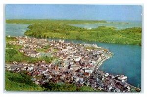 Postcard Aerial view of Kodiak Alaska AK AJ18