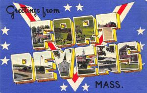 Fort Devens MA Army Base Colourpicture Large Letter Linen Postcard