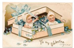 Valentine Children in Candy Box Forget Me Nots IAP Postcard