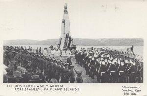 Unveiling Fort Stanley War Memorial Falkland Islands Postcard