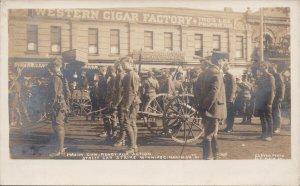 Winnipeg MB Street Car Strike Maxim Gun Soldiers Military Cleven Postcard G60