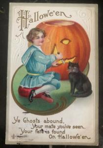 1911 Usa Picture Postcard PPC Cover Halloween Ye Ghosts Abound Black Cat