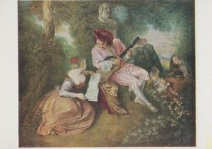 Watteau La Gamme D'Amour National Gallery Painting Postcard