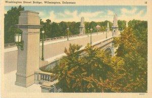 Wilmington Delaware Washington St Bridge Linen Postcard