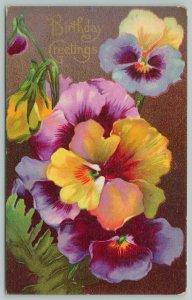 Flowers Greetings~Vibrant Yellow and Purple Pansies~c1910 Postcard