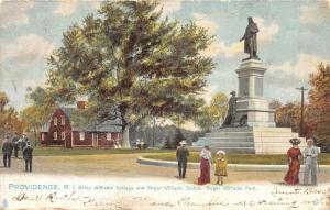 Providence Rhode Island~Roger Williams Park~People~Statue~Cottage Bknd~1905 TUCK