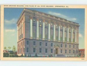 Linen BUILDING SCENE Springfield Illinois IL H6302