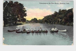 PPC POSTCARD NEBRASKA BEATRICE CANOEING ON THE BLUE RIVER HAND-COLORED