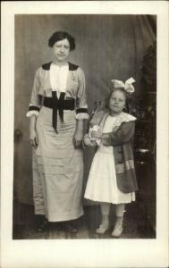 Unusual RPPC Mother & Daughter Holding Owl - Stuffed & Mounted c1910 RPPC