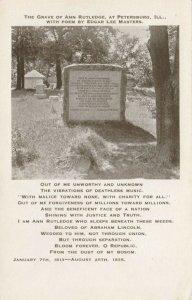 PETERSBURG , Illinois , 1910s ; Grave of Ann Rutledge, Poem by Edgar Lee Masters