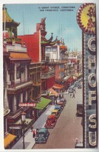 P569 JLs 1935-45 linen china town grant ave old cars signs san francisco calif