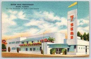 Miami FL~Art Deco Seven Seas Restaurant~Dolphins Colors~1940s Galatis~Linen PC