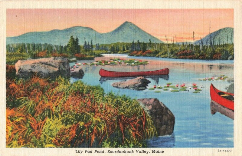 Lily Pad Pond, Sourdnahunk Valley, Maine Red Canoes in Pond Linen Postcard